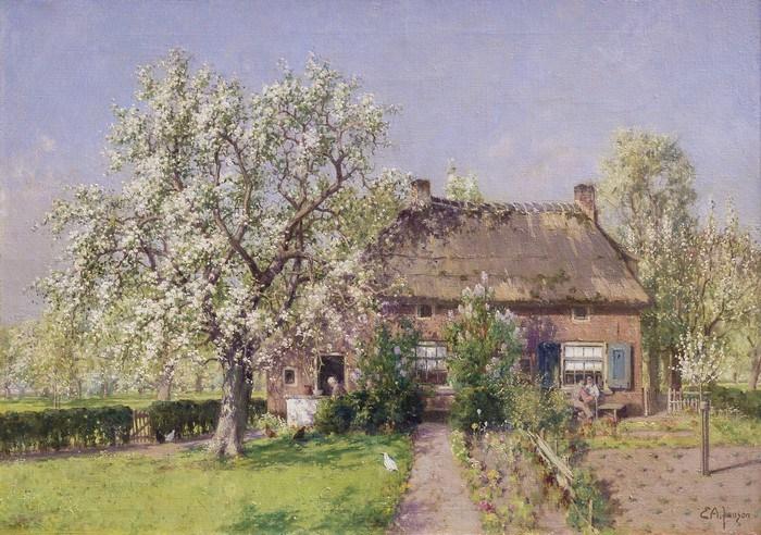 Egbertus Antonie Jansen - schilderij bloesem boom boerderij Kerk-Avezaath