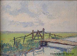 Polderlandschap met brug