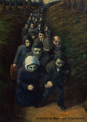 Weg voeren Joodse mensen tijdens WOII