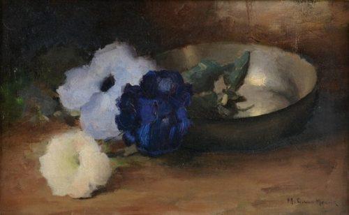 Bloemen met Tinnen Bord