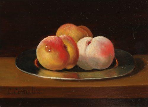 Perziken op Tinnen Bord
