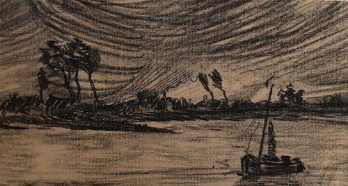 Waalschokker op de Waal bij Tiel